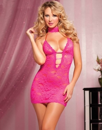Fuchsia Pink Halter Floral Lace Bobydoll