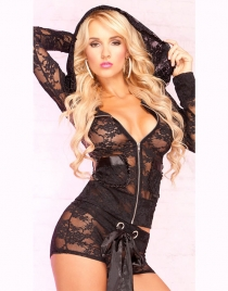 Black Lace Hood Top and Shortboy Set