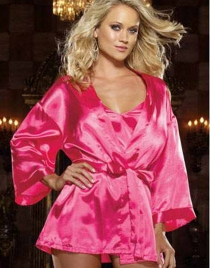 Pure Fuchsia Pink Babydoll and Robe with Sash