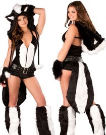Charming Halter Wolf Costume with Zip