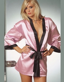 Pink Robe with Black Chermeuse