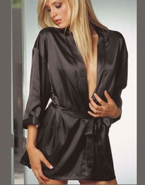 Solid Black Chermeuse Robe with Sash