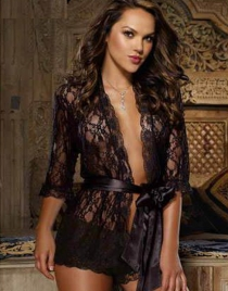 Black Floral Lace Robe with Satin Sash