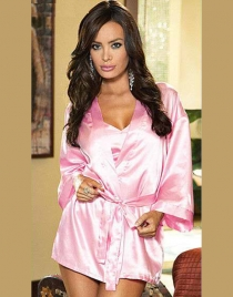 Pure Pink Babydoll and Robe with Sash