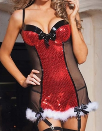 Sexy Sequin Christmas Babydoll Lingerie
