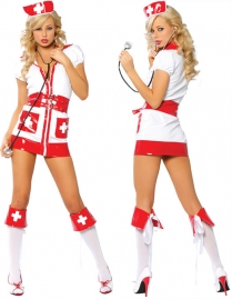 White Red Mini Dress Nurse Costume