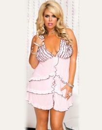 Pink Cascading Ruffle Babydoll Lingerie