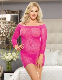 Sexy Fuchsia Pink  Long Sleeves Mash Lingerie