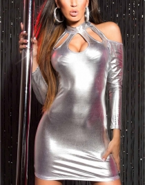 Wet Look Silvery  Long Sleeve Dress