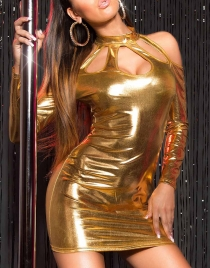 Wet Look Gold Long Sleeve Dress