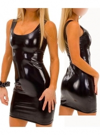 Black Wet Look Tank Dress