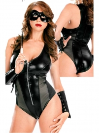 Black Leather Teddy with Zipper Front