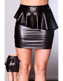 Wet Look Black Peplum Skirt