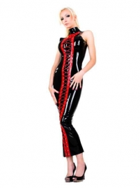 Wet Look Cheongsam Style Dress with Red Lace Up Front
