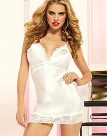 White Shiny Satin Scallop Lace Chemise Intimates Set