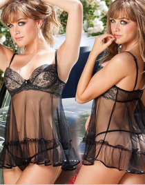 Lace Embroidered Cups Mesh Babydoll