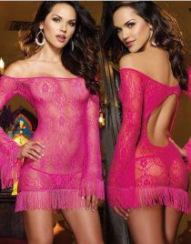 Fuchsia Lace Bare Shoulder Tassel Cutout Chemise
