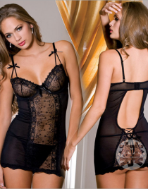 Lace Cup Chemise With G-String