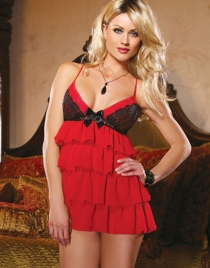 Chiffon Tiered Babydoll With Lace Overlay