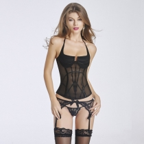 Fashionable Halter See-Through Patchwork Women's Bustier