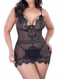Black Eyelash Lace Babydoll