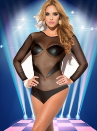 Summer Black Long Sleeve Mesh Hollow Out Backless Bodysuit