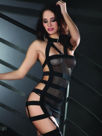 Erotic Leather Bandage Hollow Out Mesh See Through Lingerie W4011421