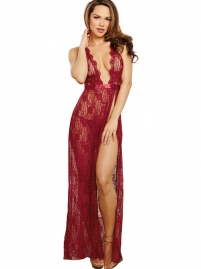 Sexy Deep V Neck Lace Forked Women Lingerie Red