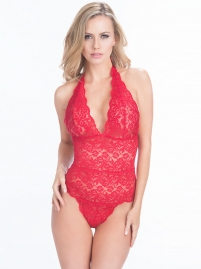 Sexy Women Halter Lace Deep V Teddy Red